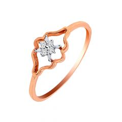 Floral Design Rose Gold Diamond Ring
