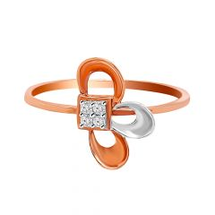 Half Floral Design With Rhodium Polish Rose Gold Diamond Ring