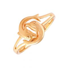 Glossy Finish Dual Dolphin Gold Ring -LR216352