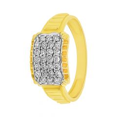 Dazzle Grooved Shank Cluster Diamond Ring For Him
