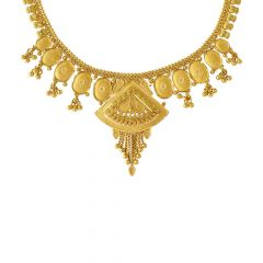 Glossy Finish Embossed Traditional Gold Necklace