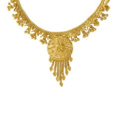 Glossy Embossed Floral Design Gold Necklace