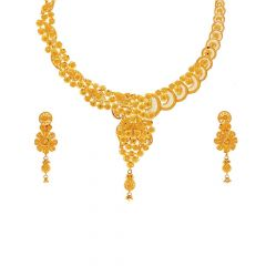 Cluster Floral Filigree Design 22kt Gold Necklace Set-N28-N3828