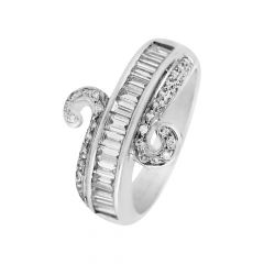 Channel Prong Set Round Brilliant And Baguette Cut Half Eternity Curved Diamond Rhodium Ring - RD49