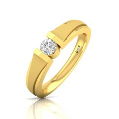 Glossy Sandblast Finish Bezel Set Solitaire Band For Her