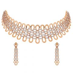 Glossy Finish Chokar Design Dangler Studded With CZ Rose Gold Nacklace Set