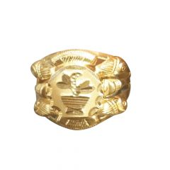 Glossy Finish Leafy Design Gold Ring-RM-07119