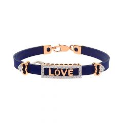 Fancy Love Heart CZ Fiber Rose Gold Bracelet