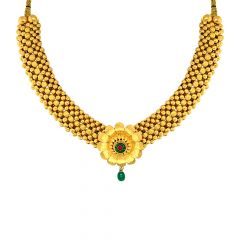 Traditional Floral Enamel Gemstone Gold Thushi