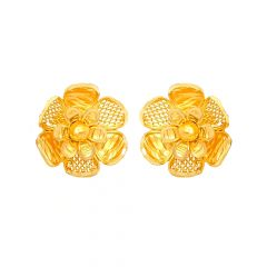 Traditional Cutout Floral Gold Earrings