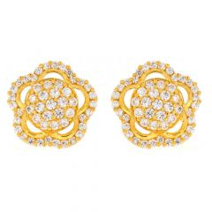 Floral Design Studded CZ Gold Earrings-TP1461