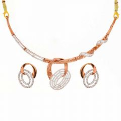 Glossy Finish Dual Circle Design Studded With CZ Rose Gold Necklace Set