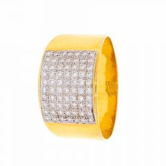 Glossy Finish Band Design Diamond Ring For Him