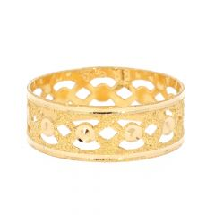 Glossy Textured Finish Band Gold Ring For Her-ZKDR005