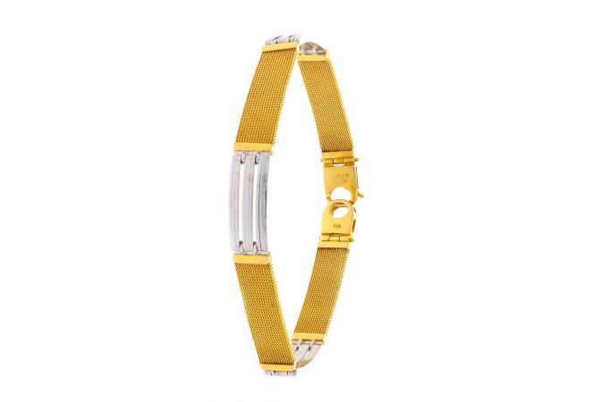 Glossy Finish Two Tone Watch Strap Design Gold Bracelet