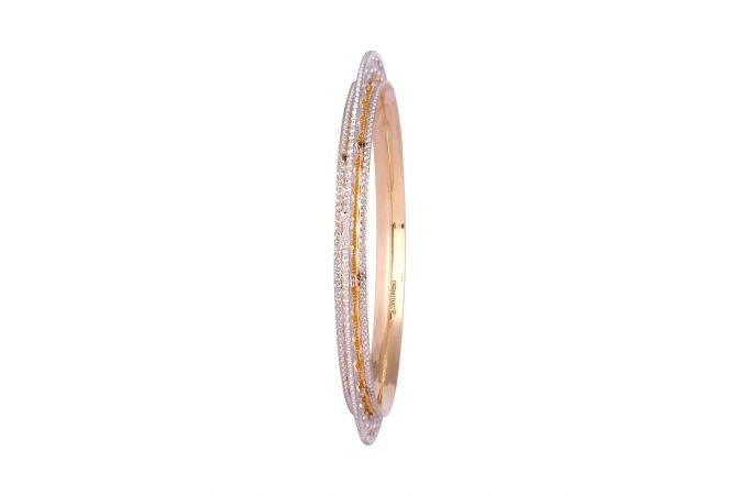 Glossy Diamond Cut PachelI Design Gold Bangle-1-A3555