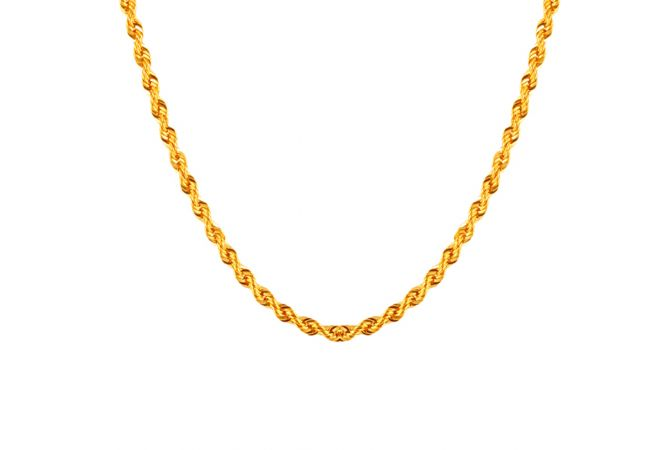 Glossuy Finish Rope Design Gold Chains - 10CH2092