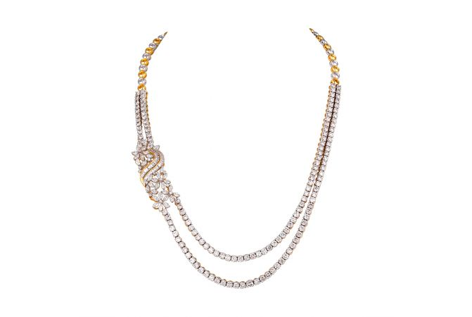 Two Layer Round,Baguette,Maquise Cut 14kt Gold Diamond Necklace - 1211-A44