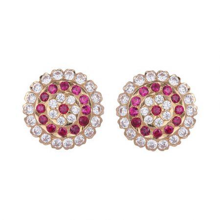 Floral Design Studded With CZ Synthetic Red Stone Gold Kudi Earrings-13-A3113