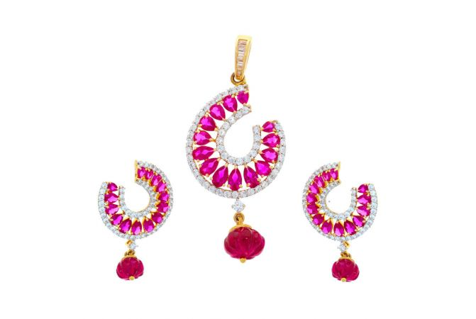 Sparkling Contemporary Drop Design CZ With Synthetic Colour Stone Studded Gold Pendant Set