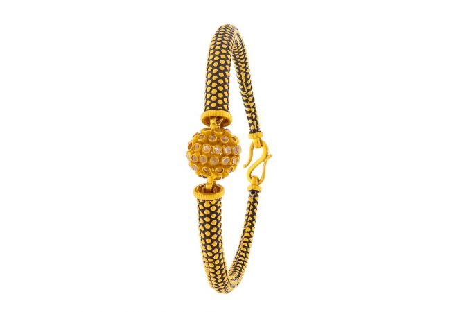 Glossy Finish Textured Design CZ Studded Openable Gold Bracelet