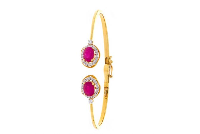 Sparkling Pave Prong Set Cuff Design Studded With Synthetic Ruby Openable Diamond Bracelet