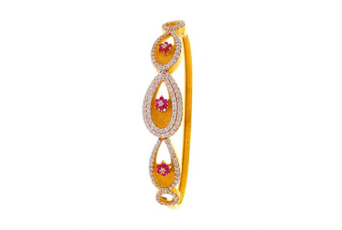 Matte Finish Floral Drop Design CZ With Synthetic Colour Stone Studded Gold Openable Braclete