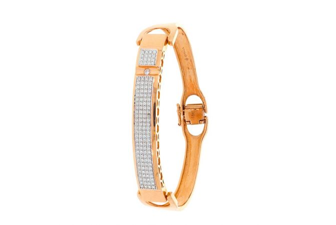 Glossy Finish Contemporary Design With CZ Studded Rose Gold Bracelet