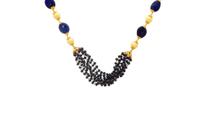 Glossy Finish Linked With Synthetic Pearl Blue Topaz Gold Necklace