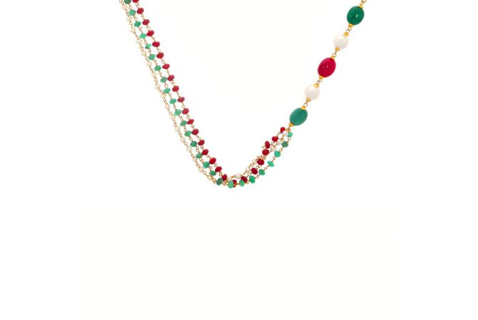 Glossy Finish Linked With Synthetic Pearl Emerald Ruby Gold Necklace