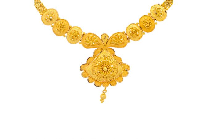 Glossy Finish Traditional Floral Design Gold Necklace