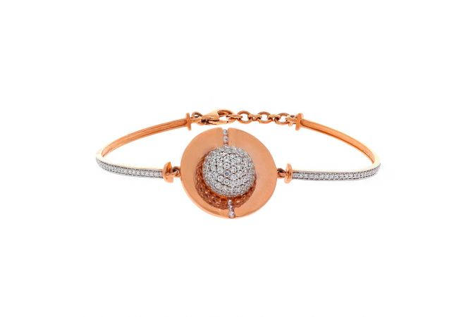 Matte Finish Contemporary Design Cz Studded Rose Gold Openable Bracelet