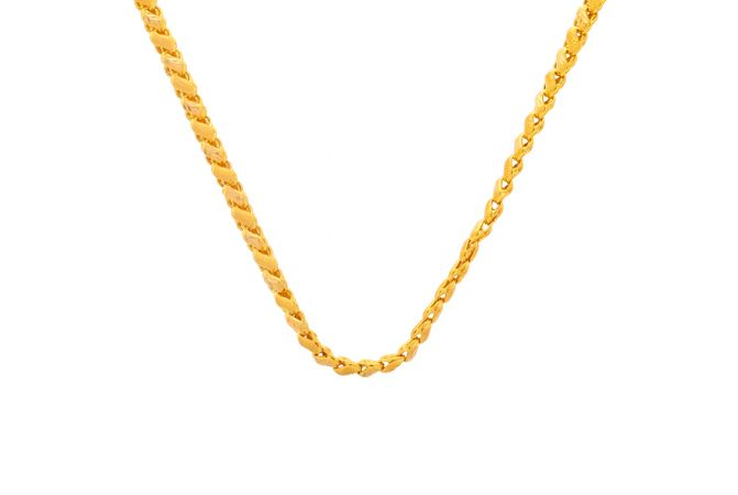 Glossy Finish Diamond Cut Linked Flexiable Design Gold Chain