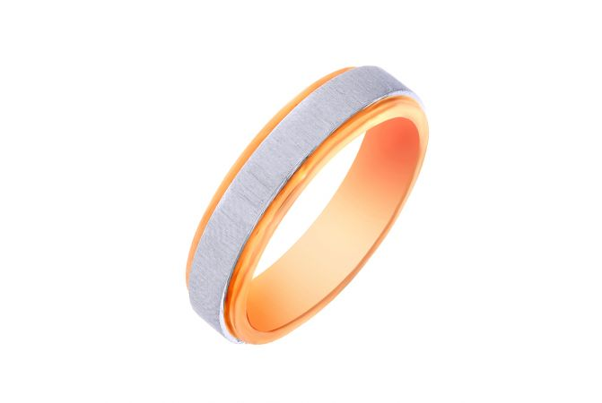 Textured Two Tone Platinum Band For Him