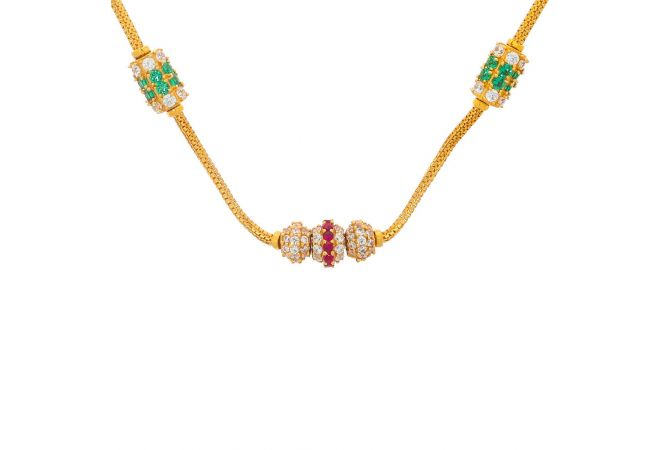 Glossy Finish Linked Bead Ball Design CZ With Synthetic Ruby Pearl Emerald Studded Gold Chain Necklace