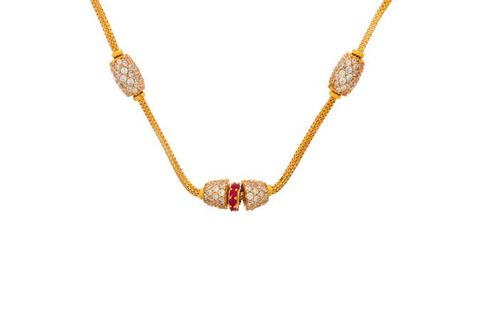 Glossy Finish Linked Bead Ball Design CZ With Synthetic Ruby Studded Gold Necklace