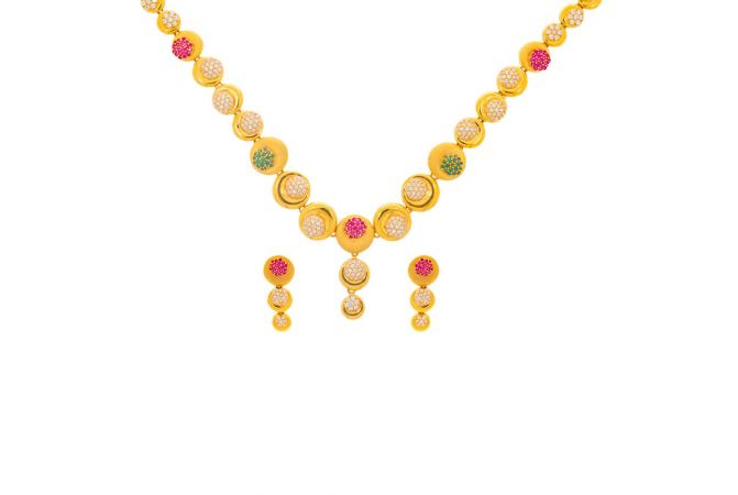 Glossy Matte Finish CZ With Synthetic Ruby Emerald Studded Gold Necklace Set