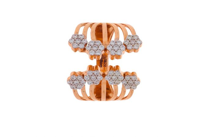Matte Finish Floral Cuff Design CZ Studded Rose Gold Ring