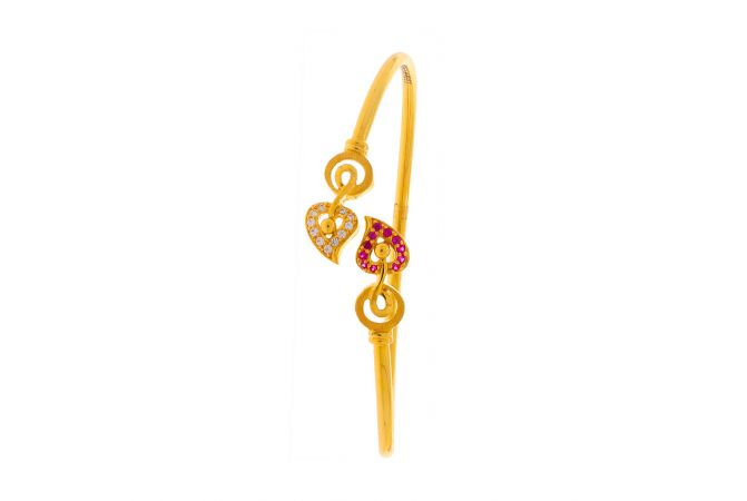 Glossy Finish Cuff Heart Design CZ Studded With Synthetic Colour Stone Studded Gold Bracelet