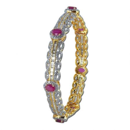 Diamond Bangles , Ruby-14DB5