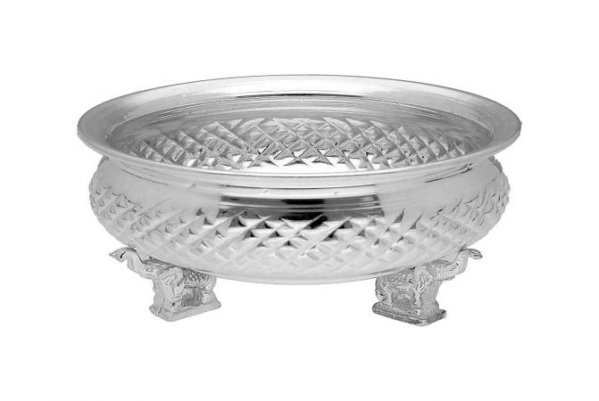 Unique Engraved 800 Purity Silver Bowl Stand-JPJU-19-192
