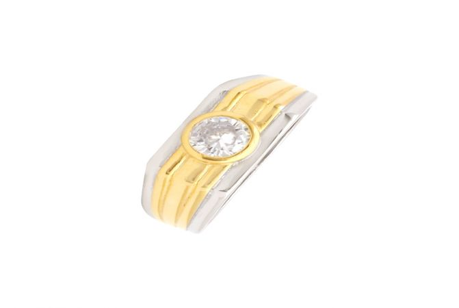 Traditional Engraved Single Stone CZ Diamond Silver Ring For Him-S-RNG1020-3331