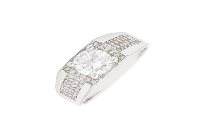 Dazzling Single Stone CZ Diamond Silver Ring For Him-S-RNG1060-3342