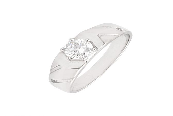 Trendy Single Stone CZ Diamond Silver Ring For Him-S-RNG1064-3352