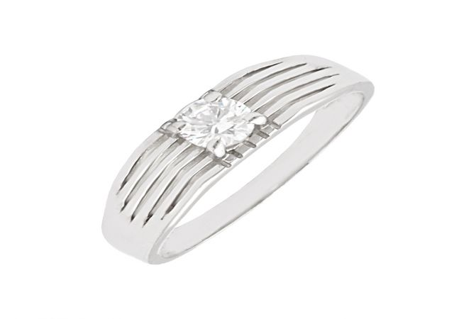 Unique Grooved Single Stone CZ Diamond Silver Ring-S-RNG1065-3347