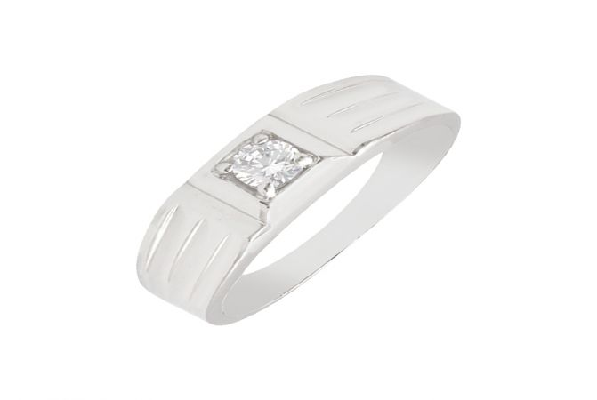 Ravishing Single Stone CZ Diamond Silver Ring For Him-S-RNG1068-3350