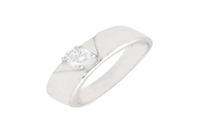 Eternal Single Stone CZ Diamond Silver Ring For Him-S-RNG1071-3349