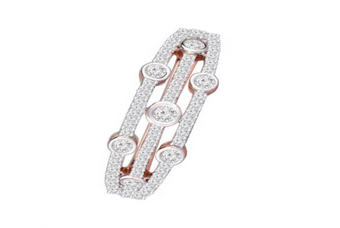 Glitter Bazel Set Daily Wear 14kt Rose Gold Diamond Ring -DM008RNGAJR27037