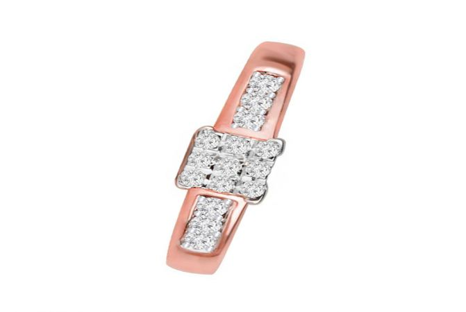 Dazzling Cluster Daily Wear 14kt Rose Gold Diamond Ring -DM008RNGAJR27178