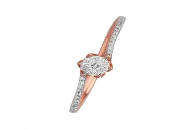 Sparkling Cluster Solitiare Look 14kt Rose Gold Diamond Ring -DM008RNGAJR27574